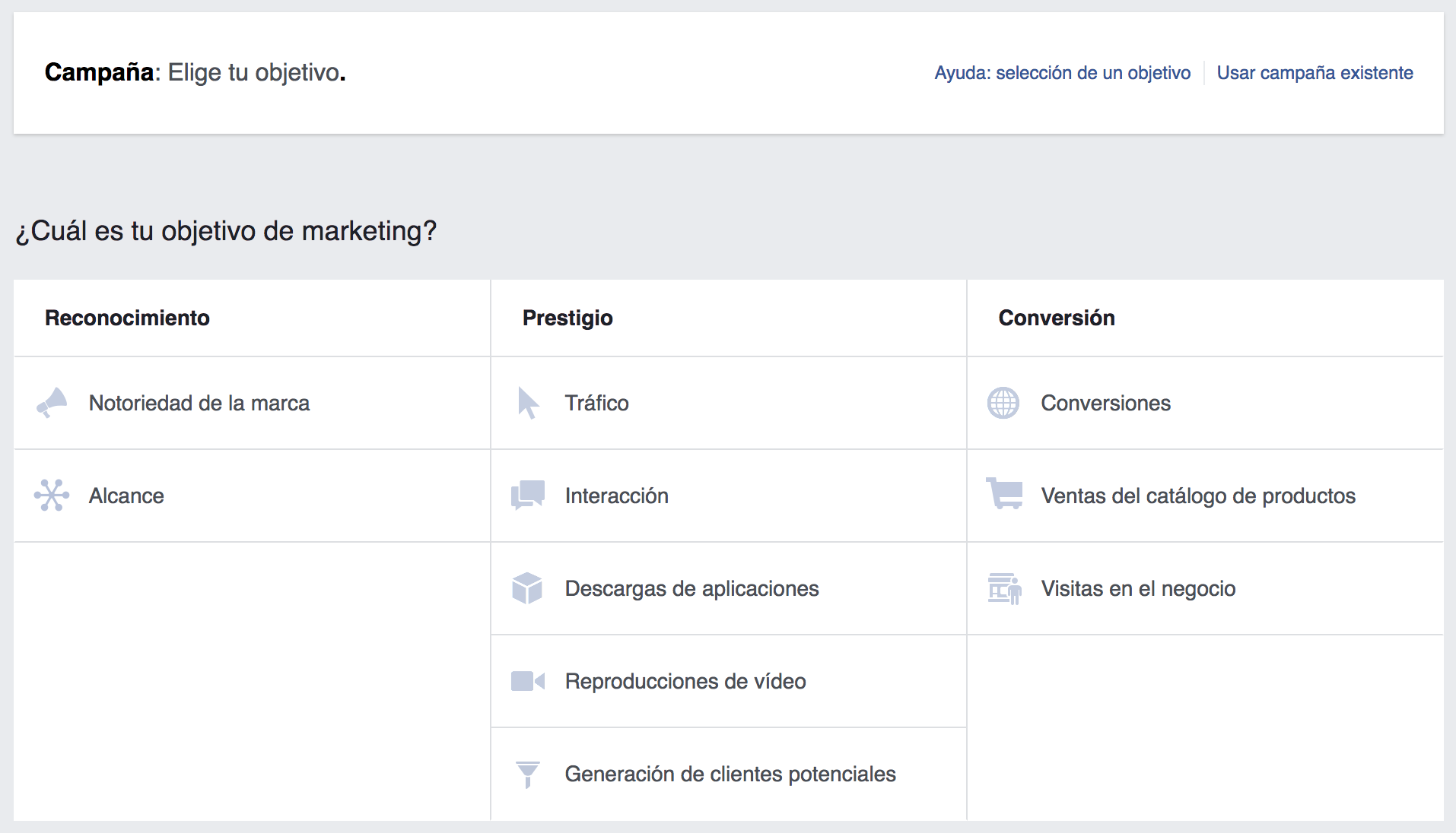 Elegir el objetivo de la campaña Facebook Ads