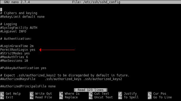 Figura 1.3 - Archivo de configuración del servidor SSH