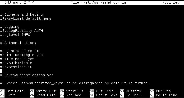 Figura 1.4 - Archivo de configuración del servidor SSH modificado