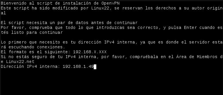 Figura 1.5 - Ejecución del script de instalación de OpenVPN