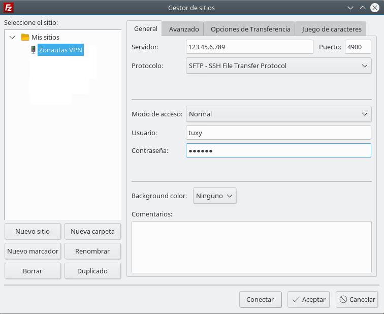 Figura 1.6 - Gestor de sitios del cliente FTP/SFTP FileZilla