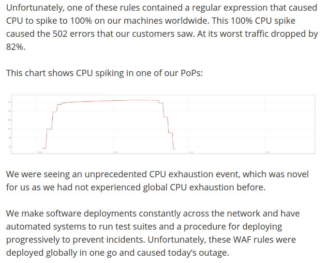 Comunicado de CloudFlare respecto a la caída
