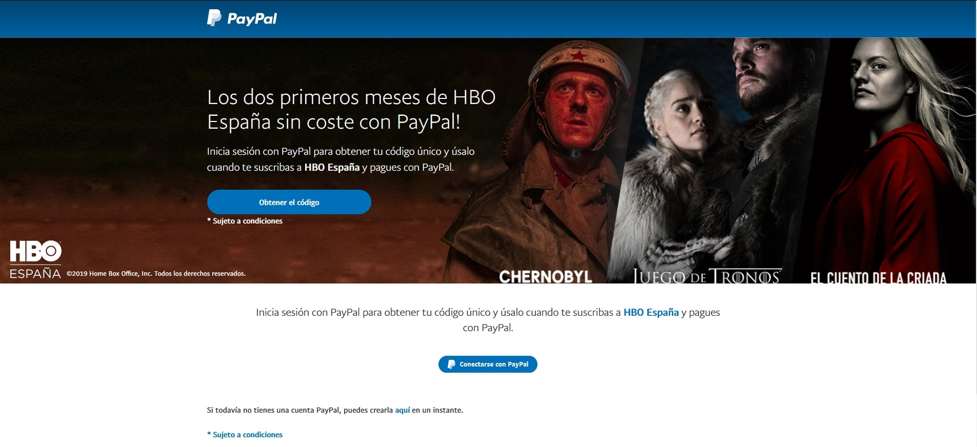 PayPal nos ofrece dos meses de HBO gratis